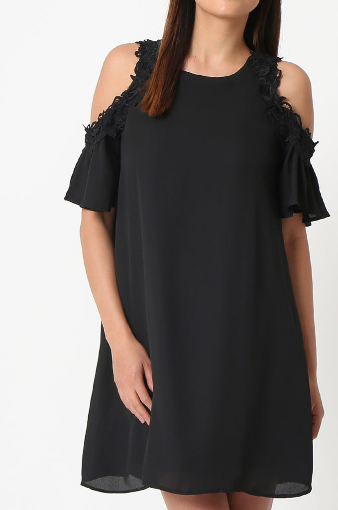 SJF2867-BLACK FRILL SLEEVE COLD SHOULDER DRESS view 5