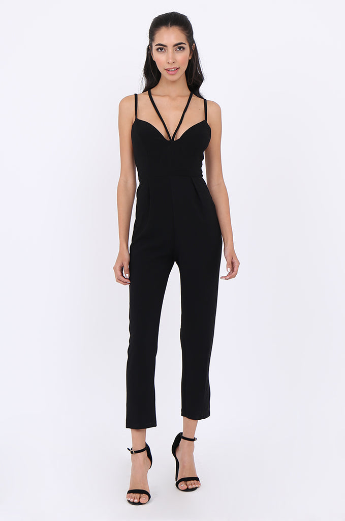 SLA1936-BLACK STRAPPY SWEETHEART NECKLINE PLEATED LEG JUMPSUIT