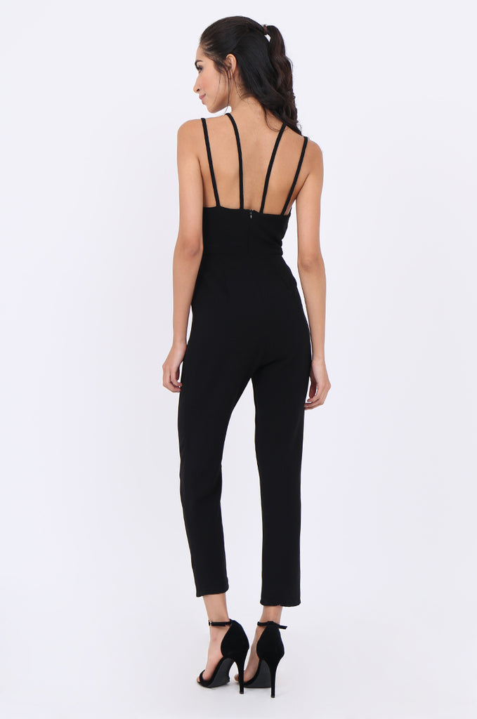 SLA1936-BLACK STRAPPY SWEETHEART NECKLINE PLEATED LEG JUMPSUIT view 3