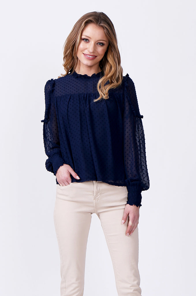 SLW0306-BLUE DOBBY RUFFLE NECK BLOUSE view main view