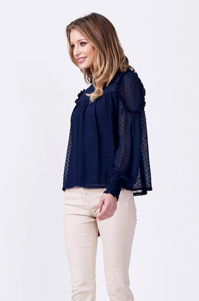 SLW0306-BLUE DOBBY RUFFLE NECK BLOUSE view 2