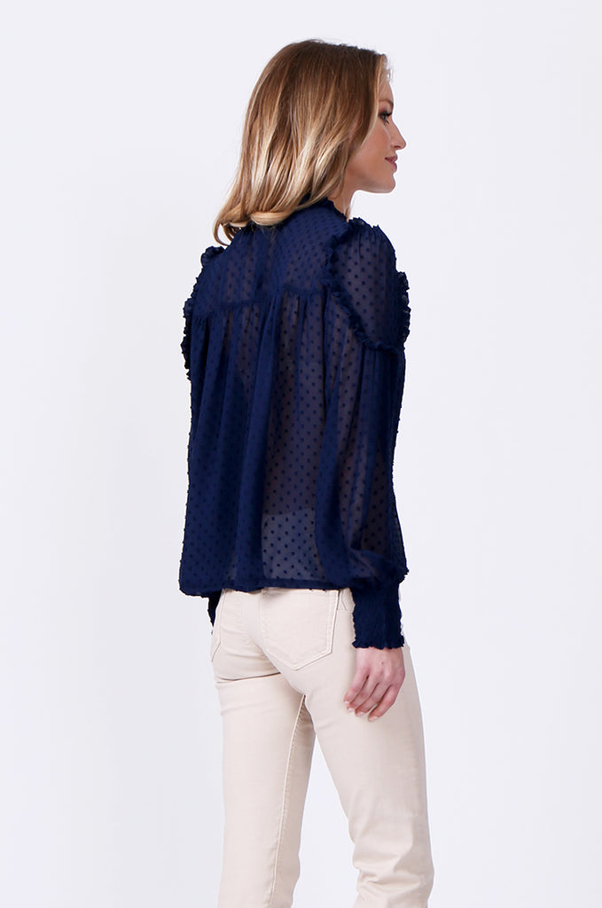 SLW0306-BLUE DOBBY RUFFLE NECK BLOUSE view 3