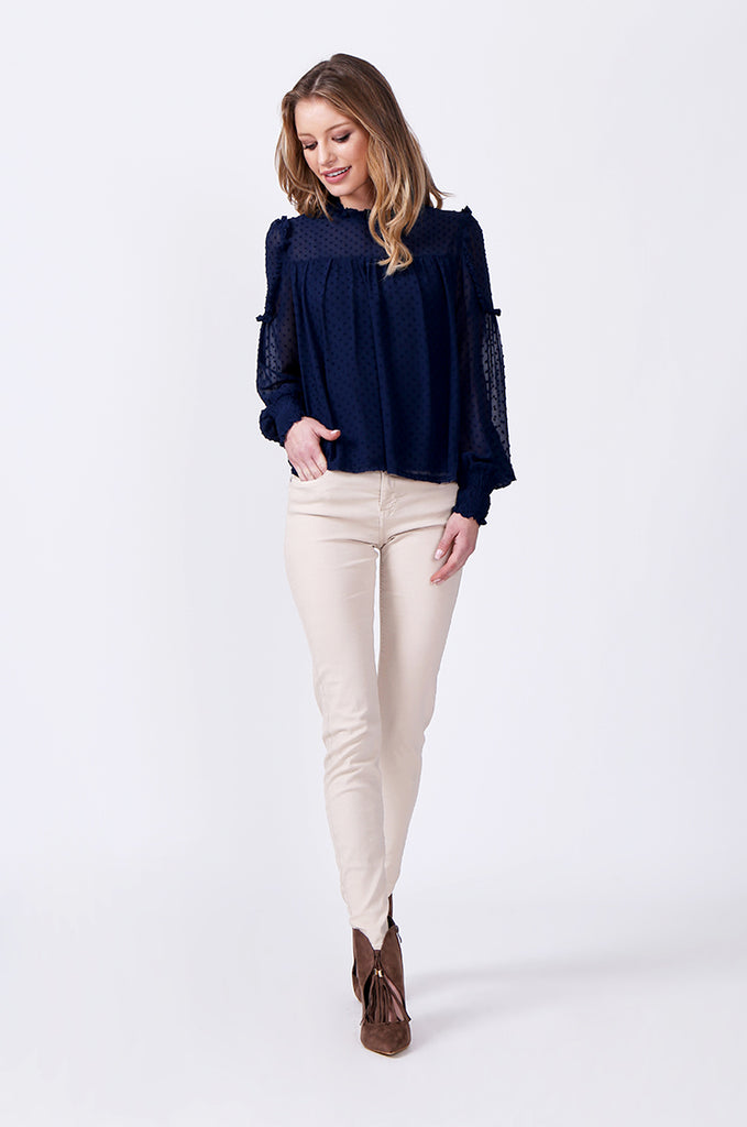 SLW0306-BLUE DOBBY RUFFLE NECK BLOUSE view 4