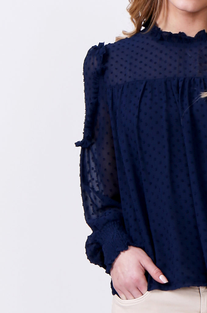 SLW0306-BLUE DOBBY RUFFLE NECK BLOUSE view 5