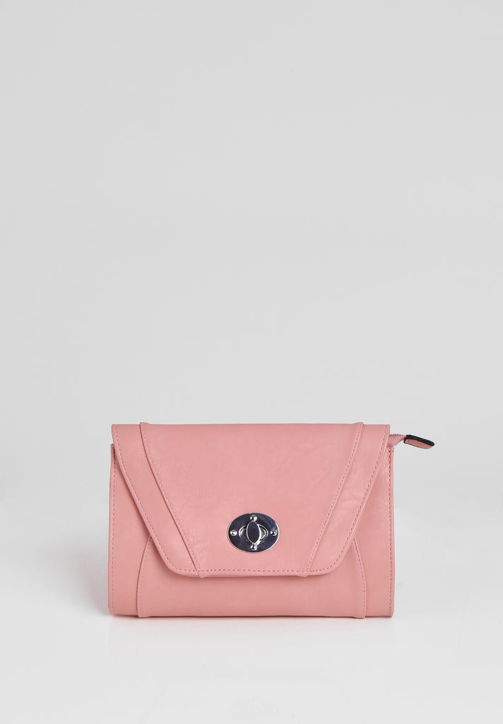 SMB2688-PINK PANELLED SILVER TWIST BUCKLE CLUTCH BAG