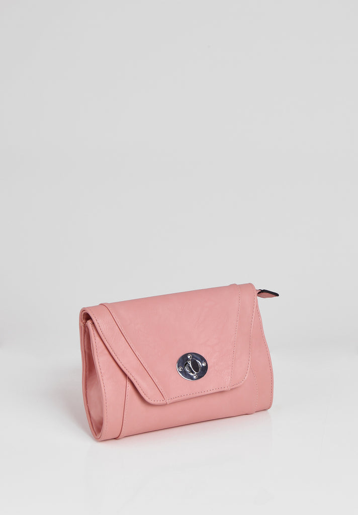 SMB2688-PINK PANELLED SILVER TWIST BUCKLE CLUTCH BAG view 2