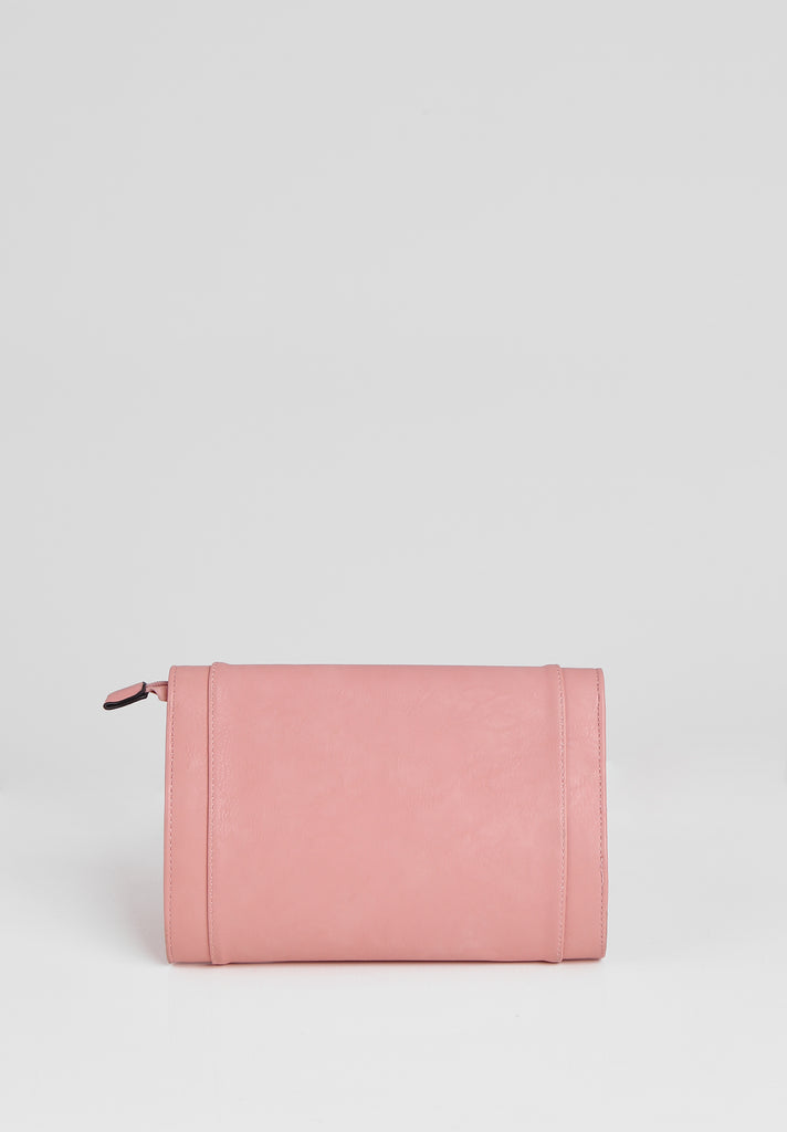 SMB2688-PINK PANELLED SILVER TWIST BUCKLE CLUTCH BAG view 3