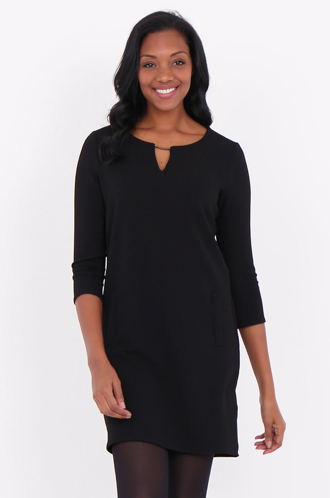 SOY1820-BLACK 3/4 SLEEVE STRETCH KEYHOLE CUT OUT DRESS view 2