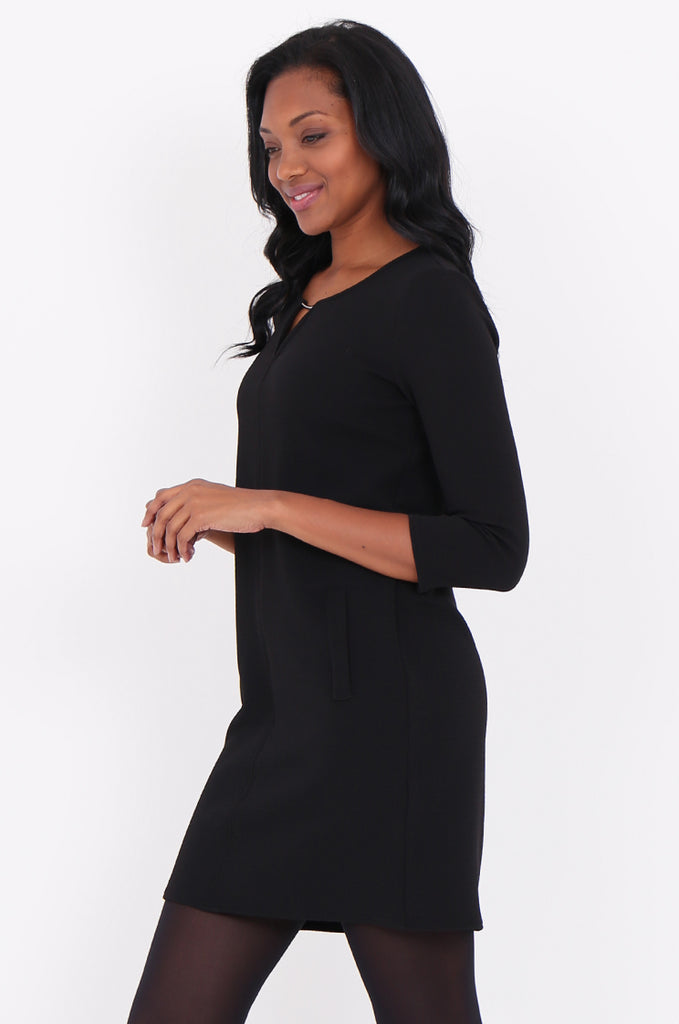 SOY1820-BLACK 3/4 SLEEVE STRETCH KEYHOLE CUT OUT DRESS view 3