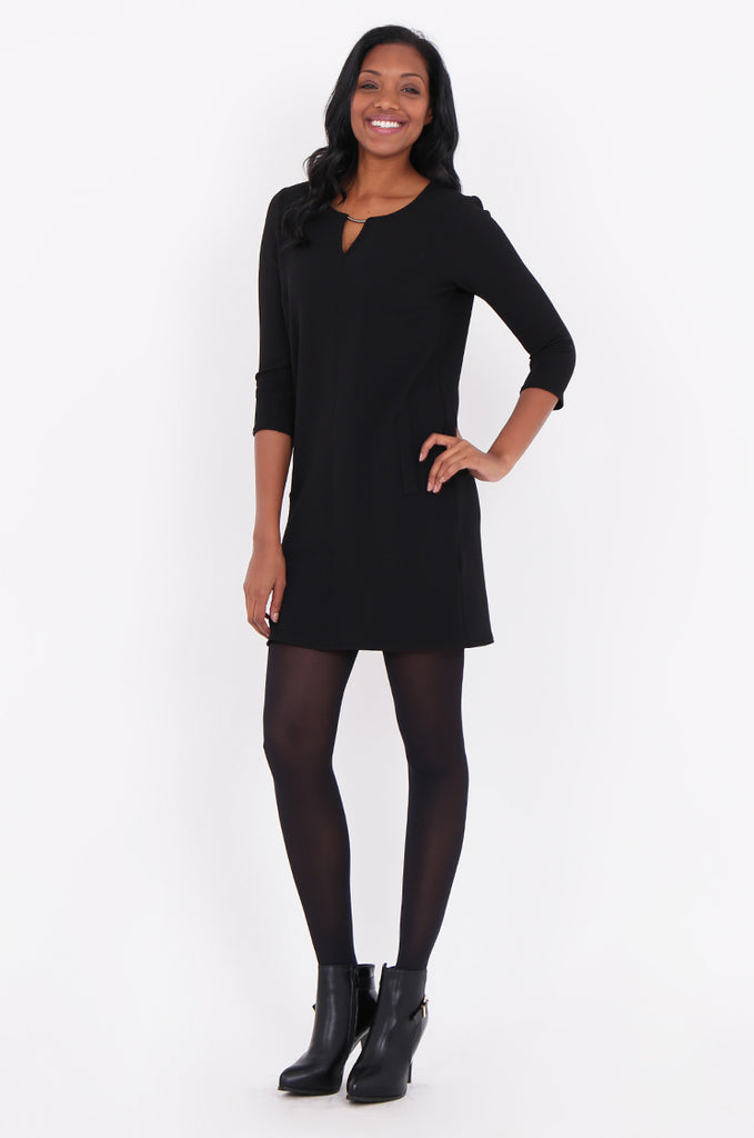 SOY1820-BLACK 3/4 SLEEVE STRETCH KEYHOLE CUT OUT DRESS view main view