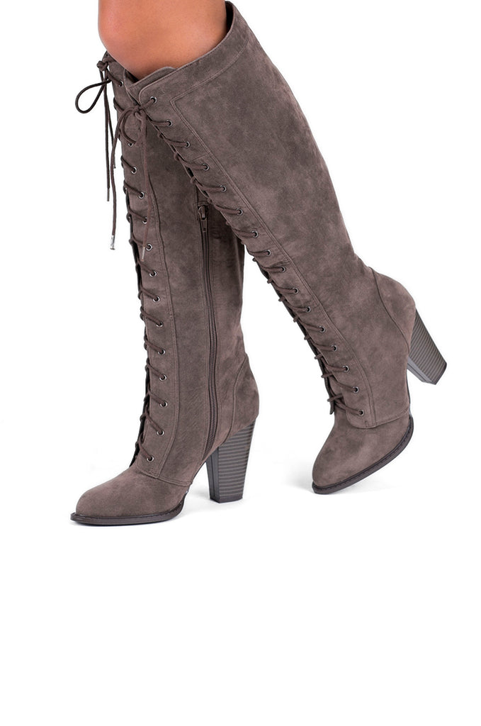 SW0297-TAUPE KNEE HIGH LACE UP BOOTS