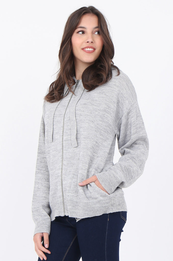 SWS1655-GREY HOODED ZIP JUMPER view 2