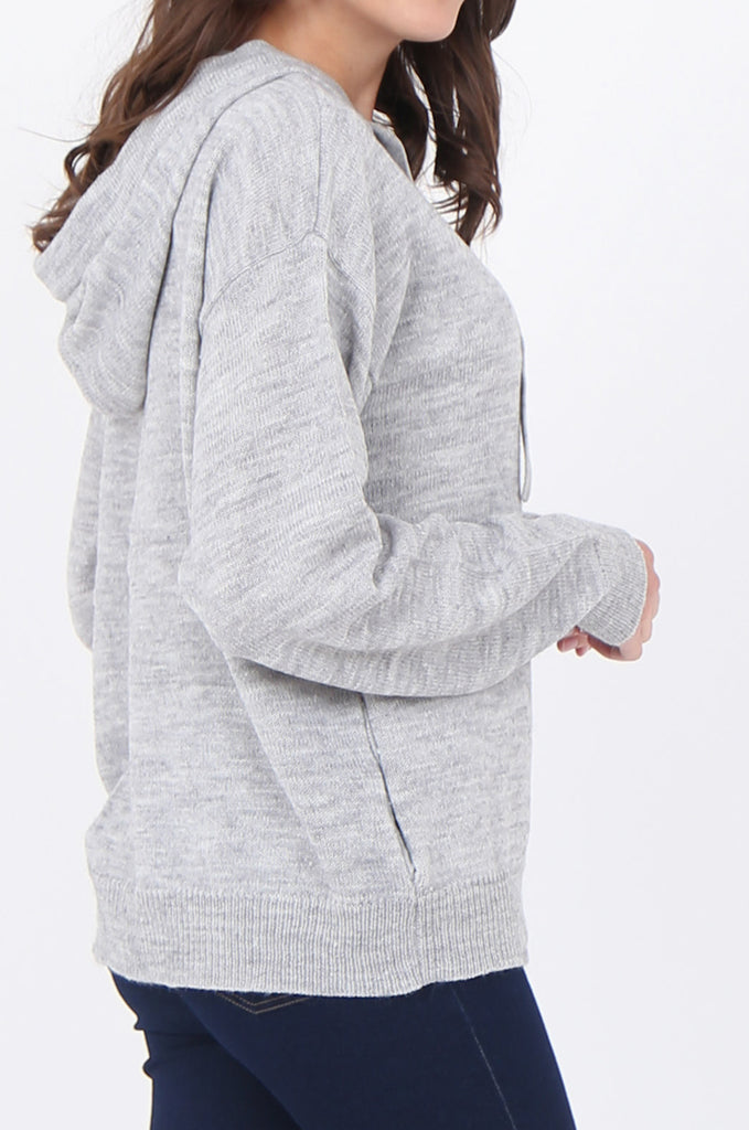 SWS1655-GREY HOODED ZIP JUMPER view 5