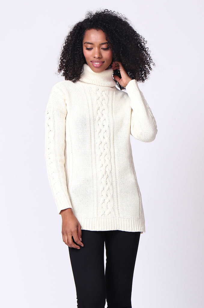 SF0270-CREAM CABLE TURTLE NECK JUMPER