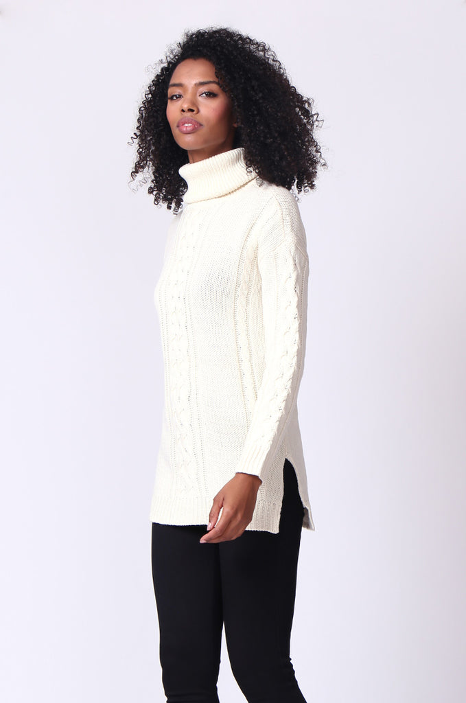 SF0270-CREAM CABLE TURTLE NECK JUMPER view 2