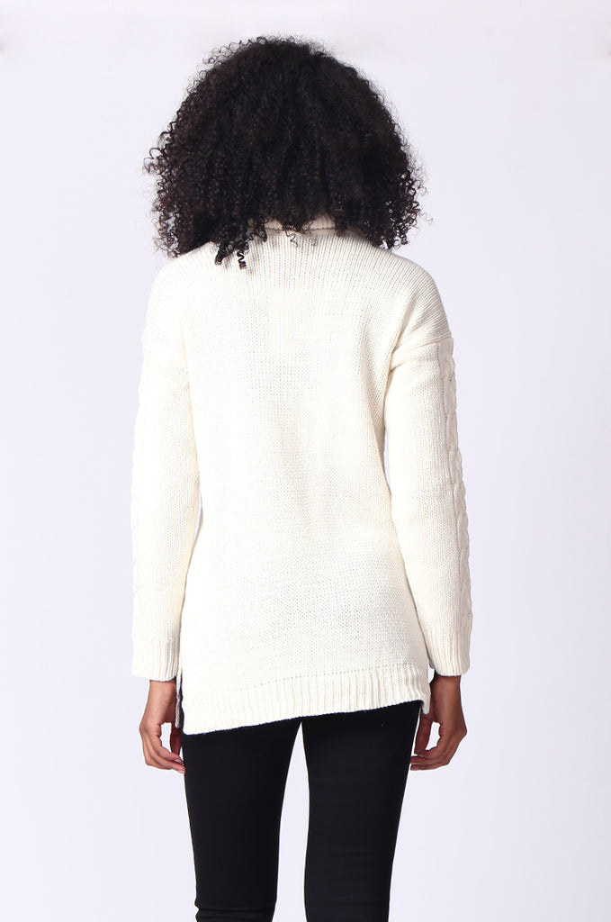 SF0270-CREAM CABLE TURTLE NECK JUMPER view 3