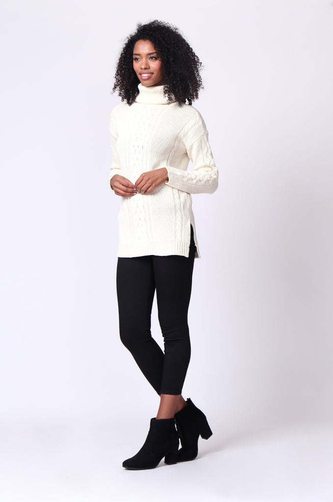 SF0270-CREAM CABLE TURTLE NECK JUMPER view 4