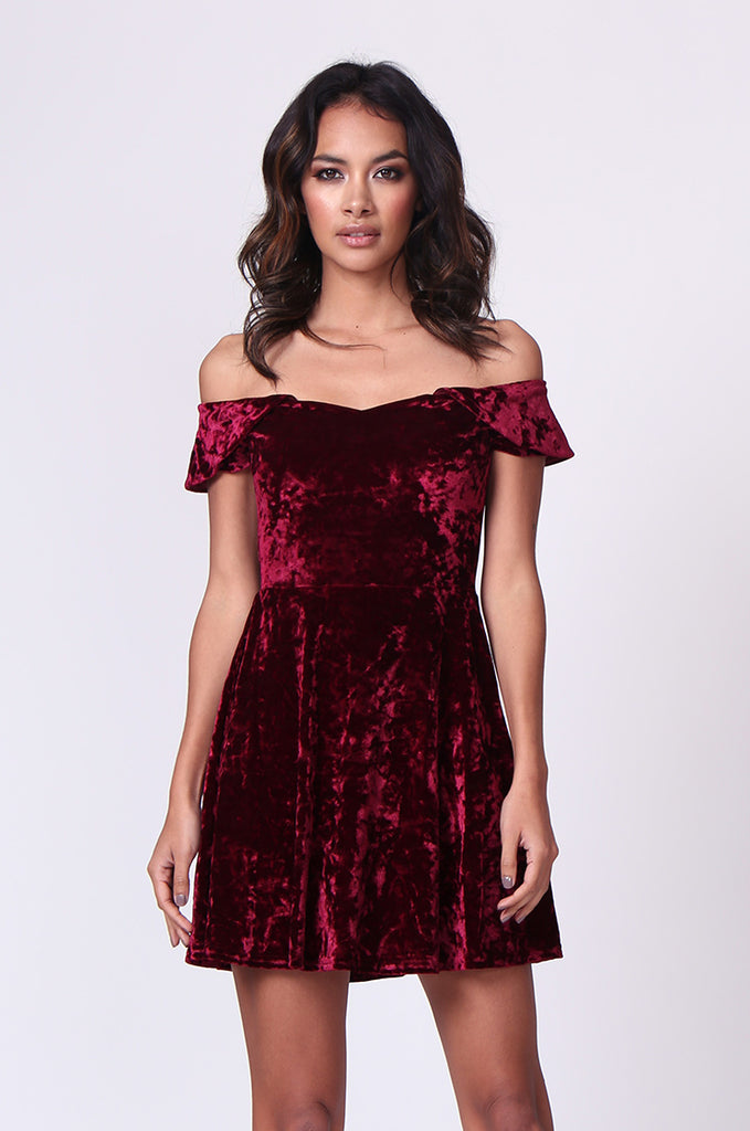 SM0179-WINE VELVET OFF SHOULDER MINI DRESS view main view