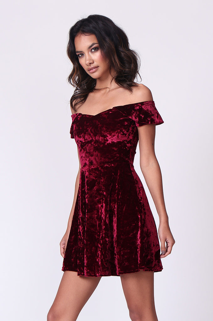 SM0179-WINE VELVET OFF SHOULDER MINI DRESS view 2