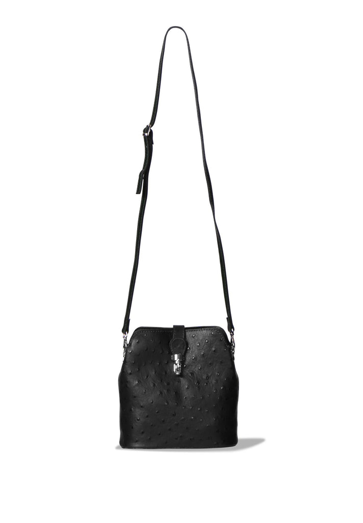SP0267-BLACK OSTRICH PATTERN MINI BAG