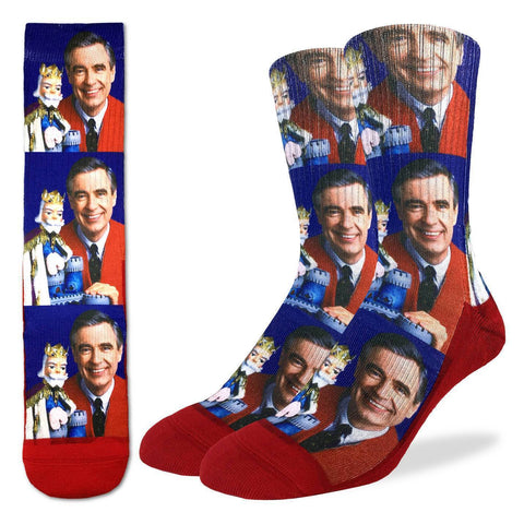 Mister Rogers with King Friday Red Socks - Men's