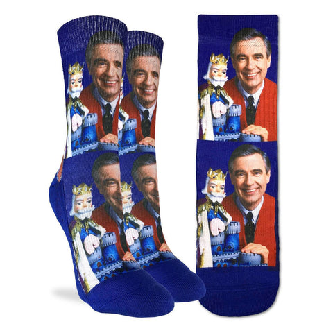 Mister Rogers with King Friday Blue Socks - Women's