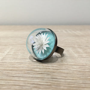 "The ""Lily"" Ring: A Miniature Paper Sculpture Flower Inside a Glass Dome Terrarium"