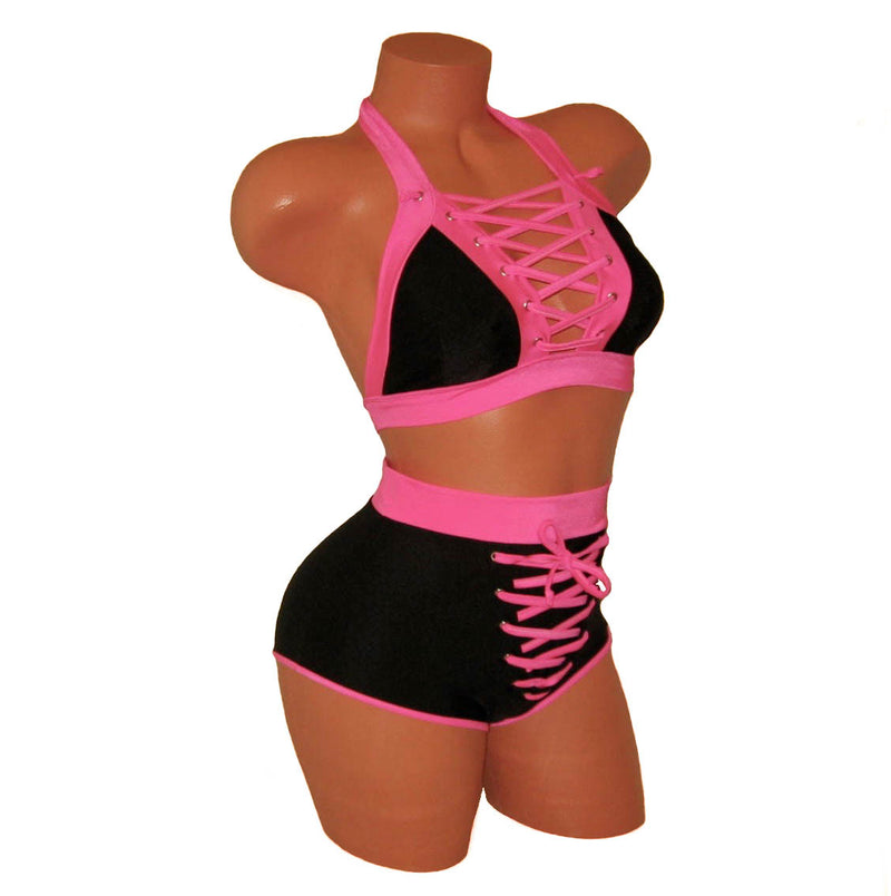 Black/Pink Lace-Up Crop Top and Shorts - HollywooDress