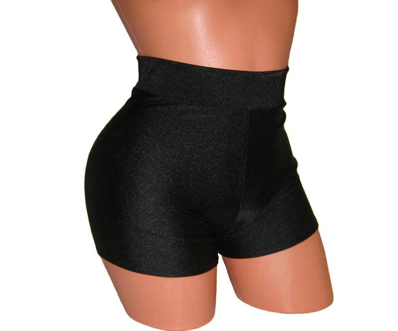 HIGH-WAISTED BLACK POLE FITNESS SHORTS