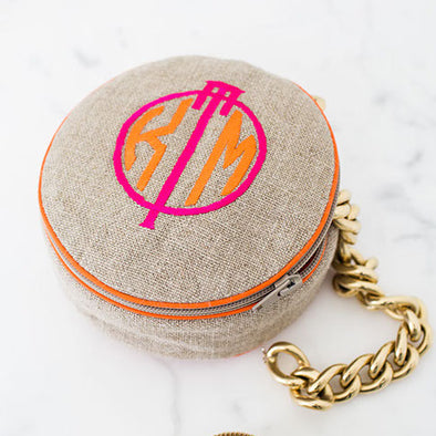 Ellis Hill 4-inch diameter jewelry case, linen or cotton, with monogram
