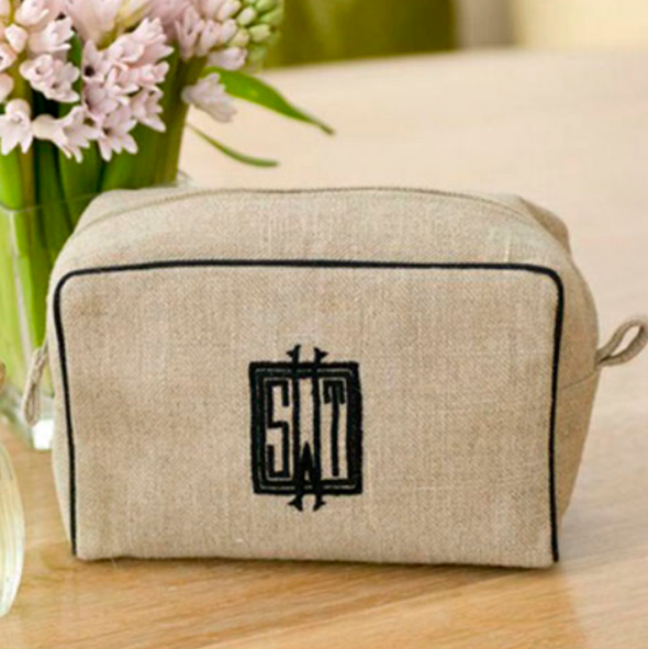Ellis Hill Milan Small Case, in linen or plastic-coated cotton, with monogram, 6 in. by 4 in.