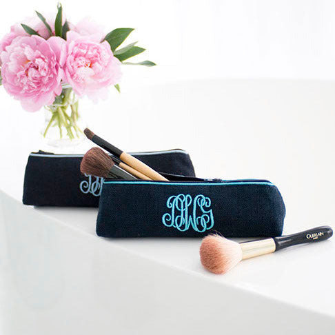 Ellis Hill small Pencil Case, in linen or plastic-coated cotton, with monogram, 8.5 in. by 2.5 in.