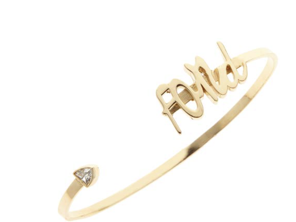 Ellis Hill Adore cuff bracelet, available in 14K white, yellow, or rose gold, monogram