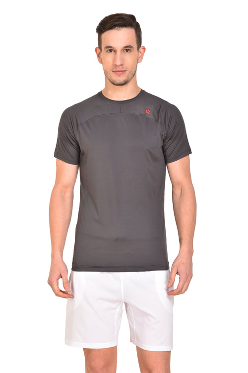 Red Cheri Mens Raw Tee - Grey
