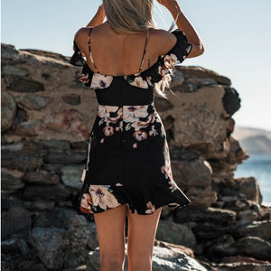 Sexy V-neck Sling Print Mini Dress
