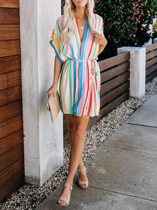 Loose Rainbow Stripes V Neck Womens Self-Belt Shirt Sundress Mini Dress