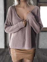 Load image into Gallery viewer, Solid Color Asymmetric V-neck Loose Sweater Tops