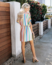 Load image into Gallery viewer, Loose Rainbow Stripes V Neck Womens Self-Belt Shirt Sundress Mini Dress