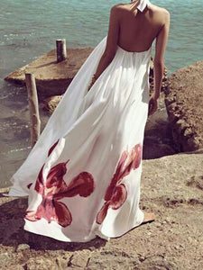 Printed Floral Halter Backless Maxi Long Dress