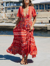 Load image into Gallery viewer, Bohemian Holiday Chiffon V-neck Open Long Dress