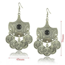 Load image into Gallery viewer, Boho Vintage Silver Gemstone Pendant Ancient Coin Earrings