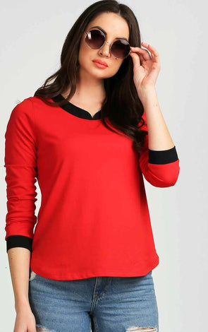 Black And Red Top For Women