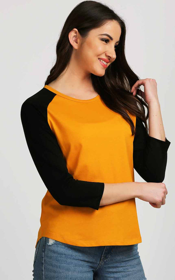 Mustard With Black Sleeve Cotton Top For Women
