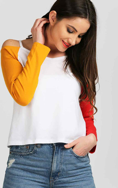Off The Shoulder Top In White Red And Mustard