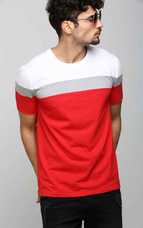 Round-Neck-Casual-Men's-T-Shirt-in-Red