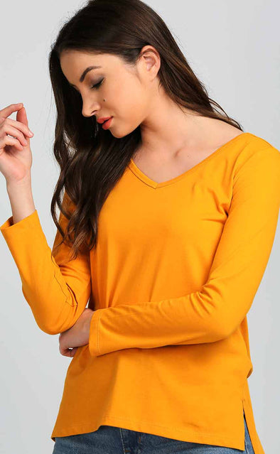 Side-Cut-High-Low-Mustard-Casual-Top