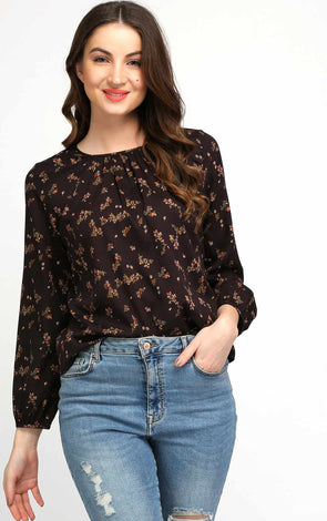 Long Sleeve Printed Brown Top For Women