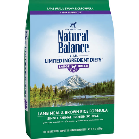 Natural Balance L.I.D. Limited Ingredients Diet Lamb Meal and Brown Rice Large Breed Bites Dry Dog Food