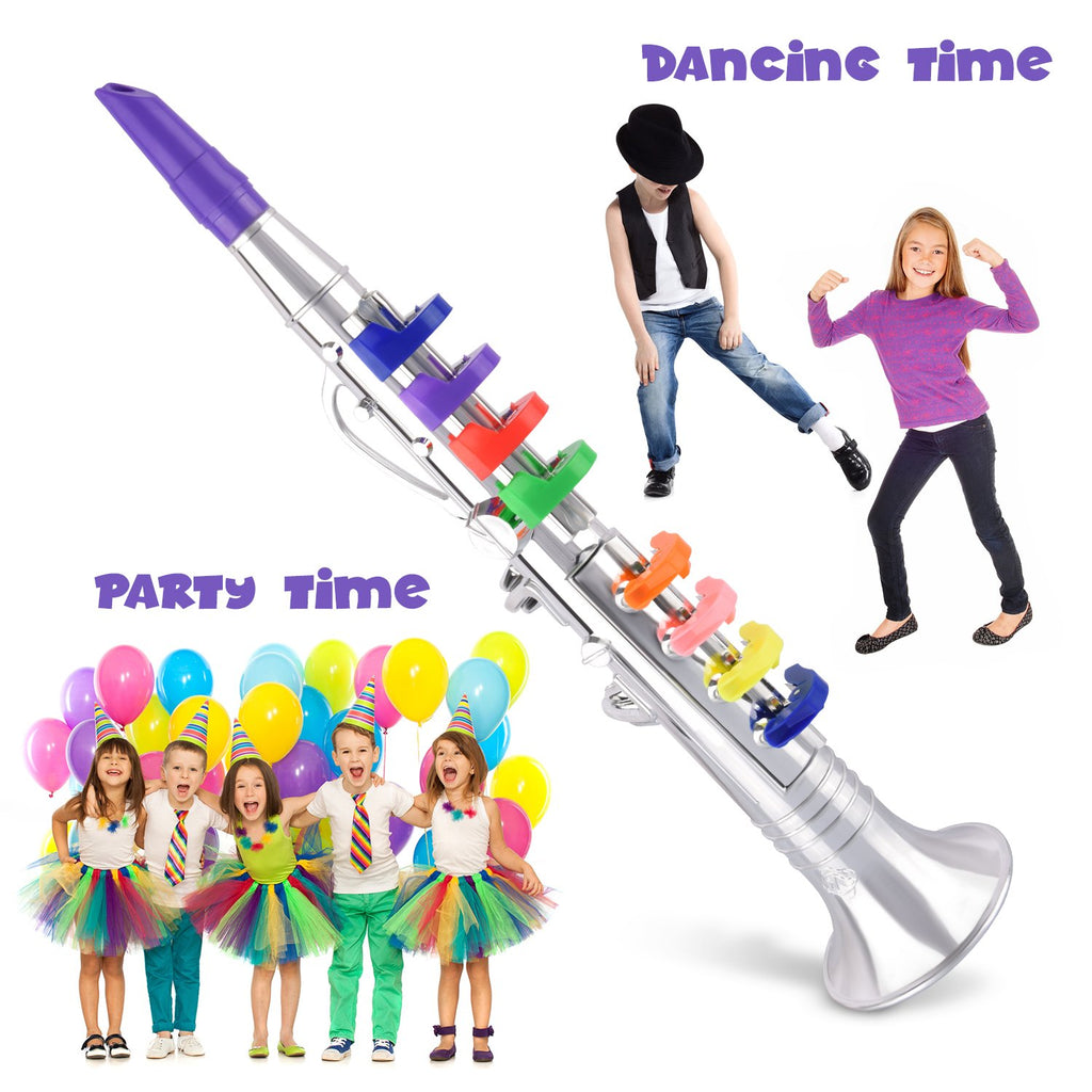 Children's Clarinet for Beginners – Toy Musical Instrument for Kids with 8 Color Coded Keys