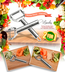 Basily Julienne and Serrated Stainless Steel Peeler